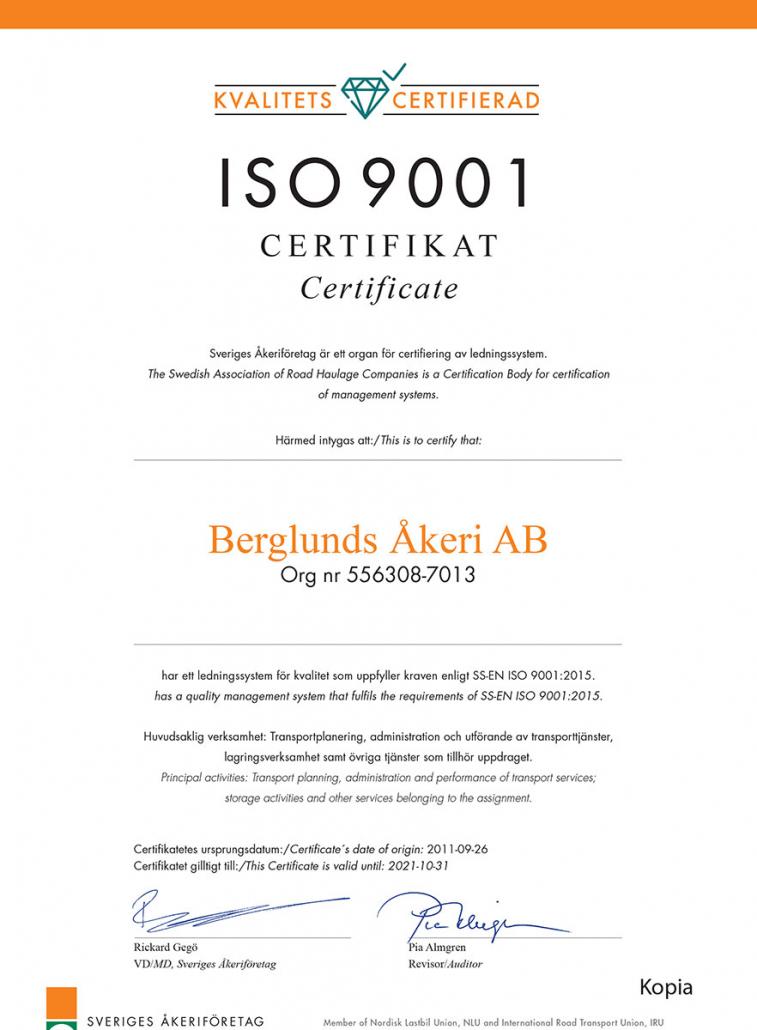 ISO 9001 certifikat tilldelat Berglunds Åkeri