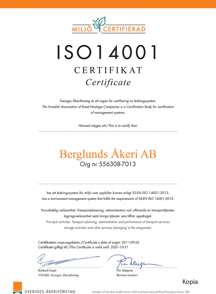 ISO 14001 certifikat tilldelat Berglunds Åkeri